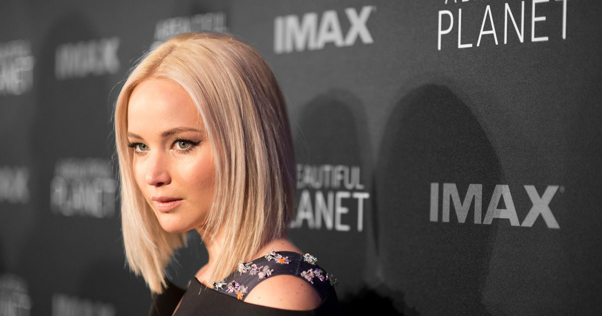 Jennifer Lawrence at the premiere for A Beautiful Planet