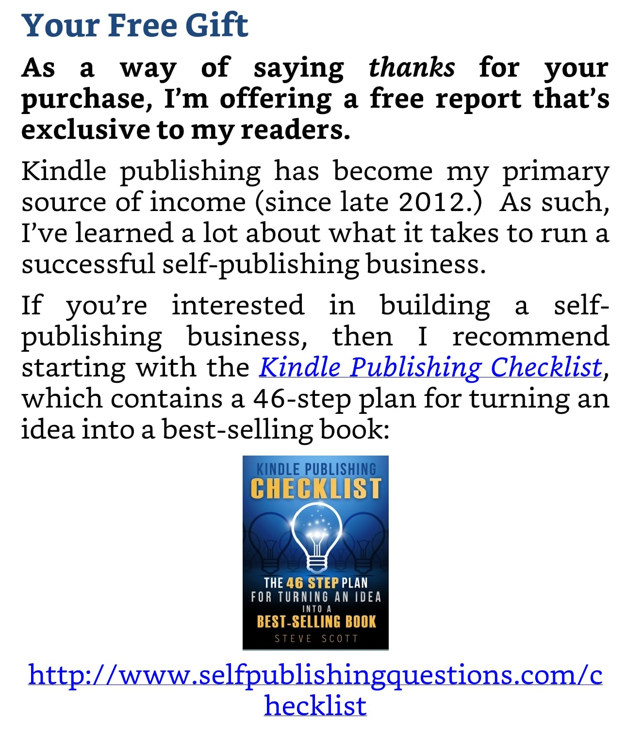 "A ""free gift"" can drive people from your ebook to your website."